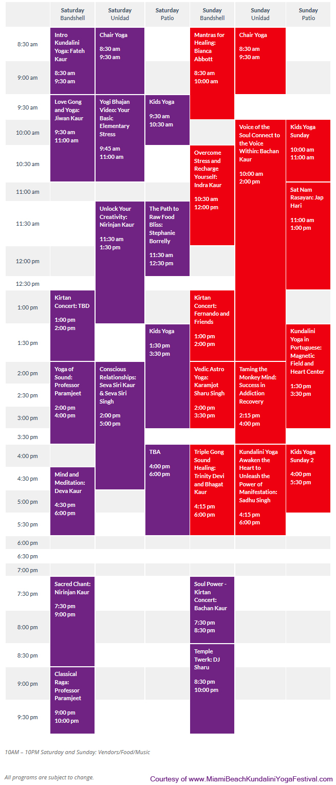 Kundalini Yoga Festival Miami Beach Schedule copy