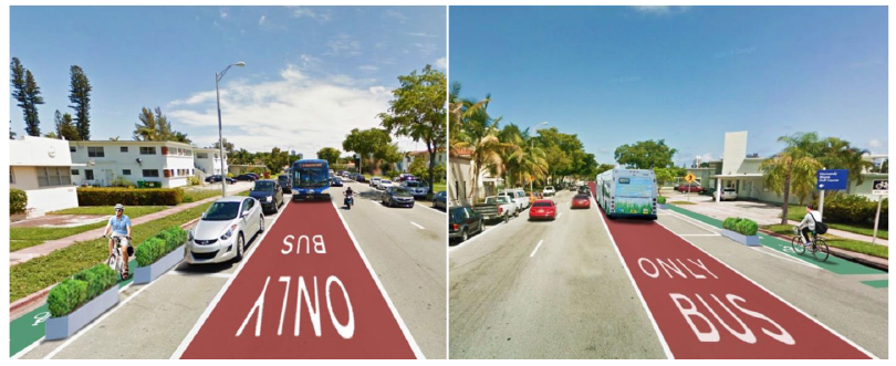 71st and Normandy Dr Exclusive Transit and Protected Bicycle Lanes